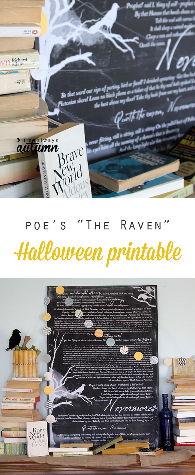 Book Inspired Halloween Mantle Decor The Raven Free Printable