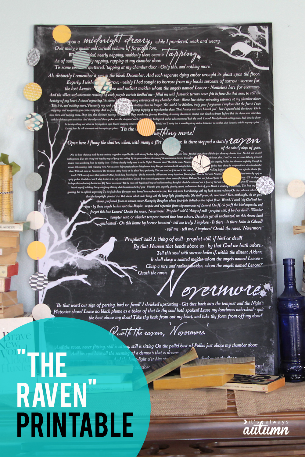"Free art print of ""The Raven"" by Edgar Allen Poe. Cool DIY Halloween decor!"