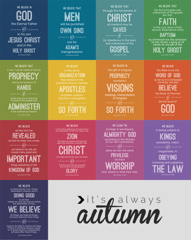 Nerdy image within 13 articles of faith printable