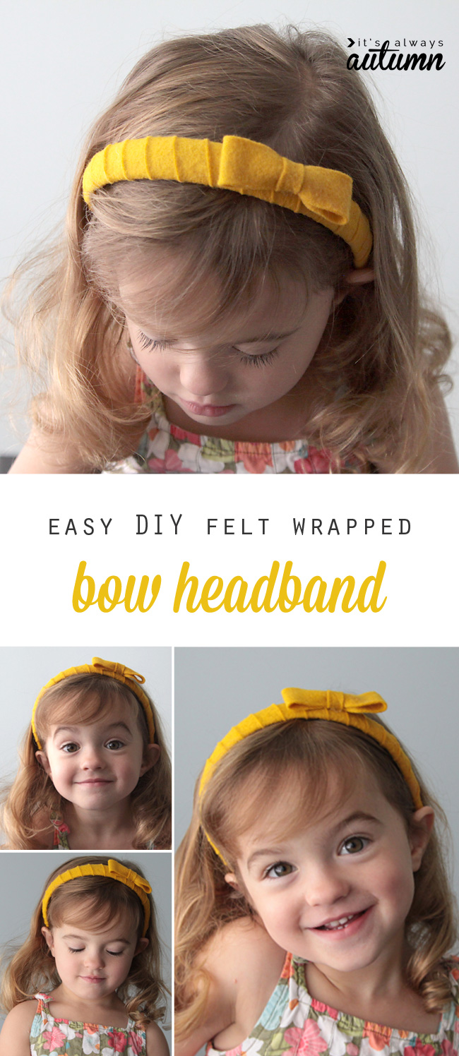 Cute DIY felt wrapped bow headband - this would be great for a girl's craft activity!