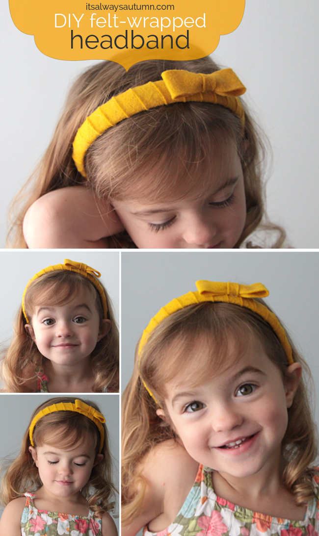 girl wearing DIY headband