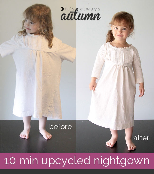 white girls' homemade sewn nightgown pajamas