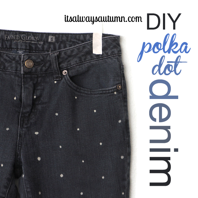DIY women's polka dot jeans