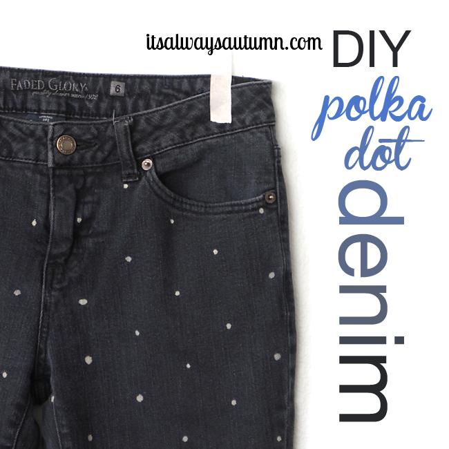 DIY women's polka dot jeans