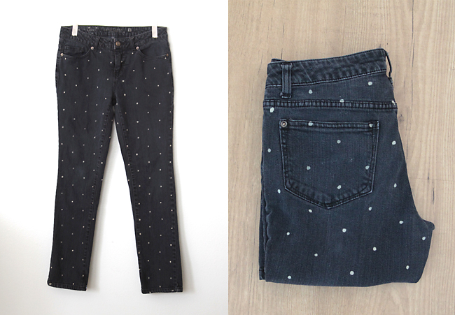 Diy polka dot denim spruce up old jeans its always autumn womens jeans with white polka dots solutioingenieria Image collections