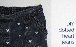 jeans with polka dot hearts