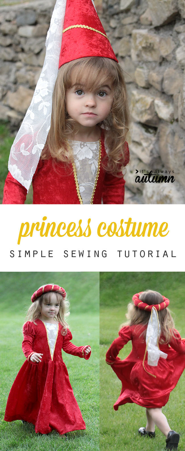 This adorable princess dress is actually really easy to make! Sew one up for a Halloween costume or just for dress up!