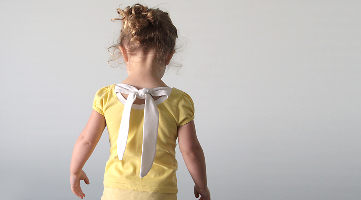 girls yellow shirt with back tie