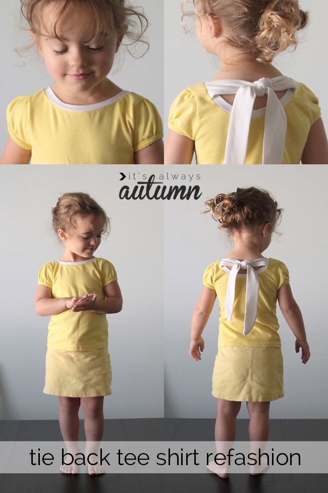 yellow girls shirt with contrast neckline