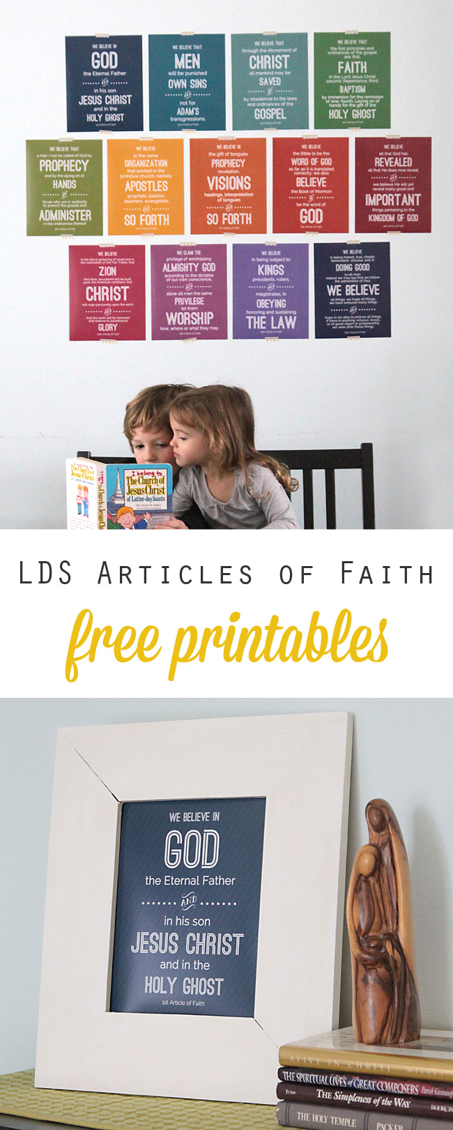 free printables for all 13 LDS Articles of Faith - great way to help kids with memorization! These would also make a fun family Christmas gift.