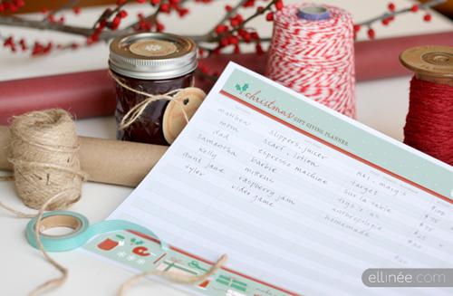 holiday christmas gift planner printable