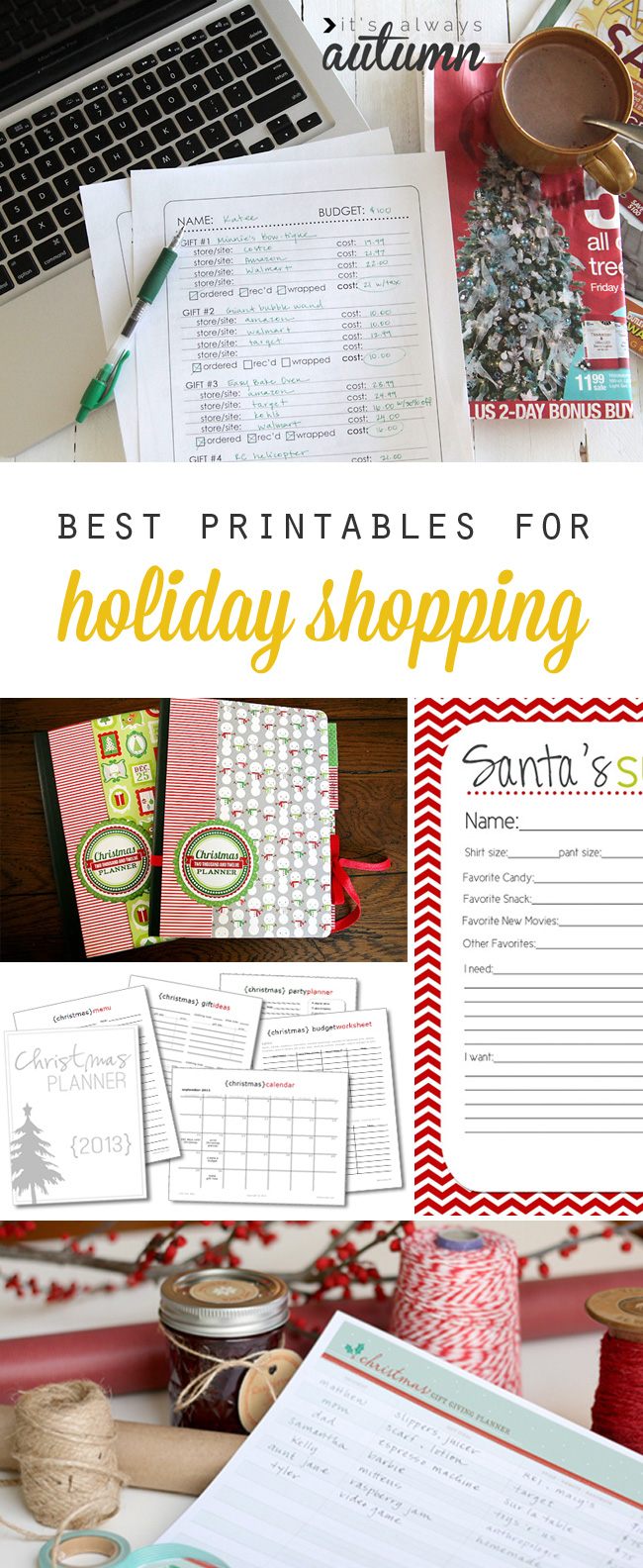get organized and stay on budget with these free holiday shopping printables