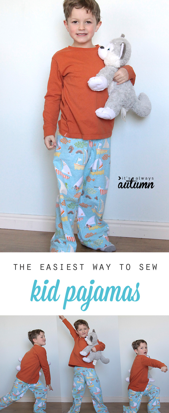 This tutorial explains the easiest way to sew kid pajamas - no pattern  needed! Great 09bcc3343