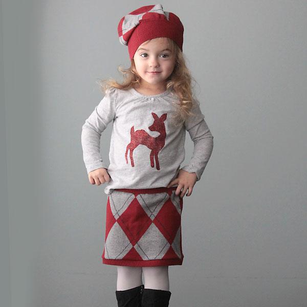 DIY holiday glitter shirt and sweater skirt
