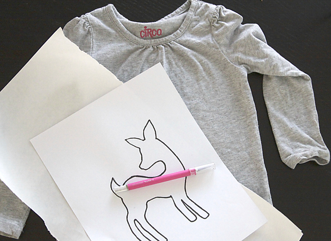 add a cute glitter deer to girls shirt
