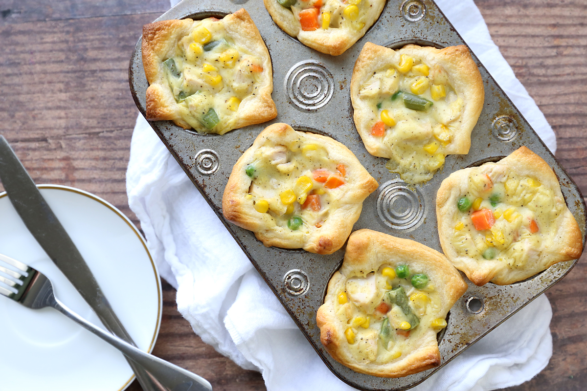 Mini chicken pot pies made in a muffin tin
