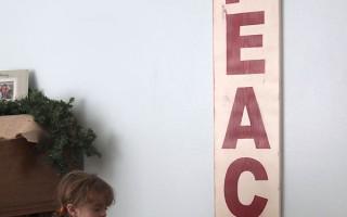 PB Christmas wall sign knockoff {PEACE}
