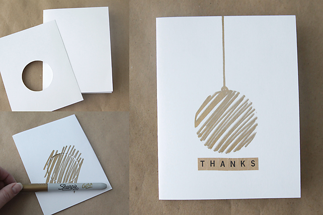 easy DIY thank you cards with metallic accents using Sharpies