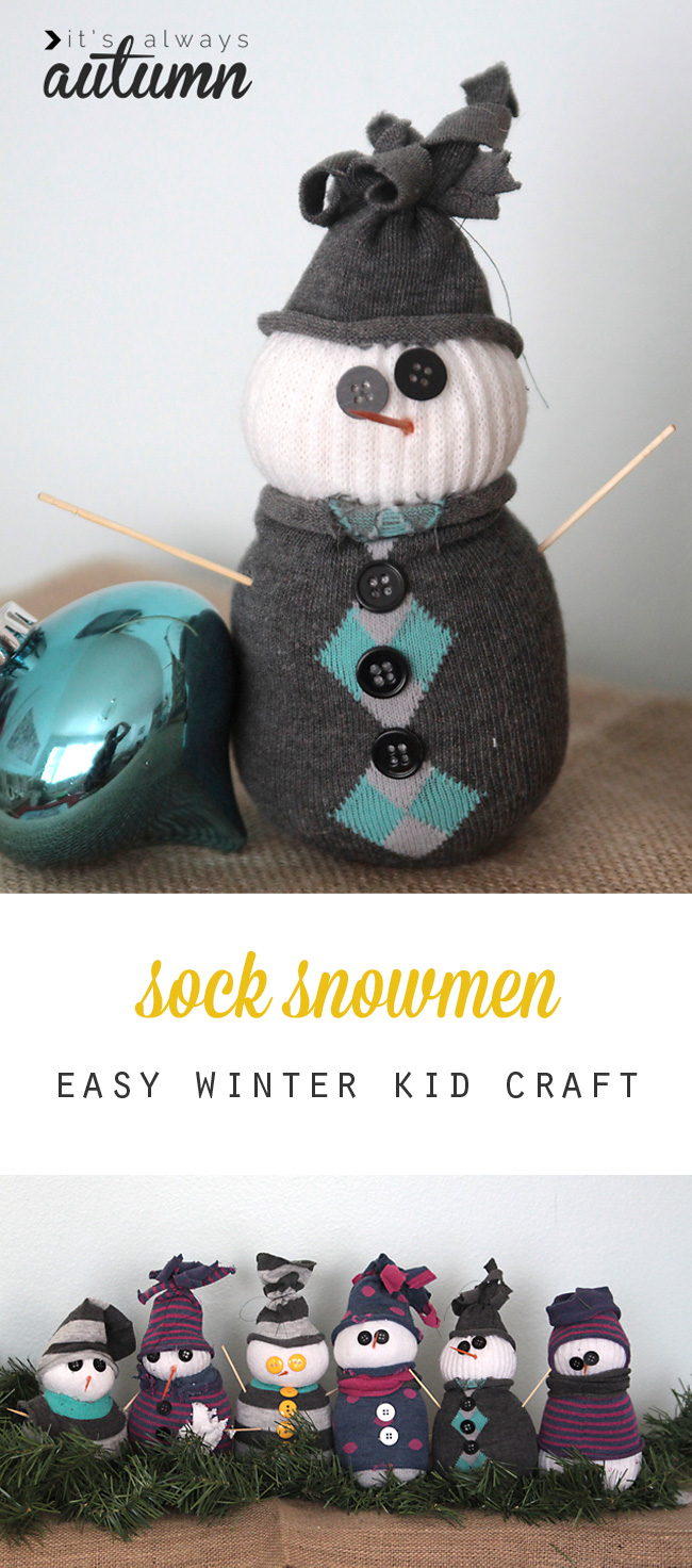 A Holiday Craft Tradition Easy Sock Snowmen It S Always Autumn
