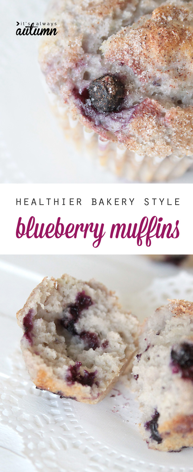 These bakery style blueberry muffins are sweet and tender with less fat and calories due to a secret ingredient in the recipe: greek yogurt!