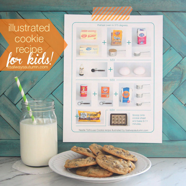 illustrated cookie recipe to help kids make cookies