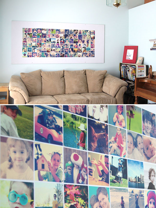 amazing wall size DIY bulletin board for instagram photo display