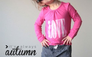 "DIY Valentine's Day ""love"" freezer paper stencil tee"