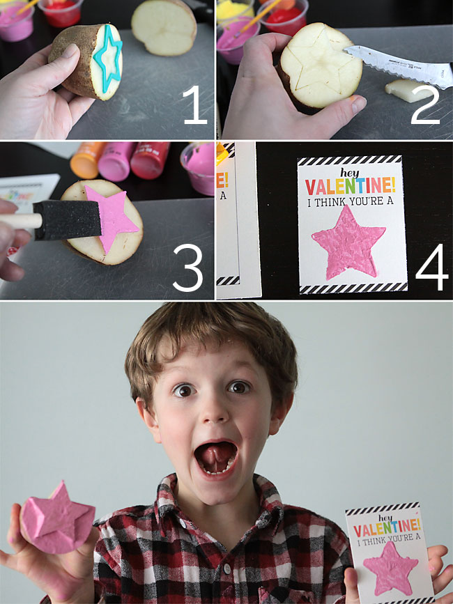 how to use potato stamps to make adorable Valentine's day cards