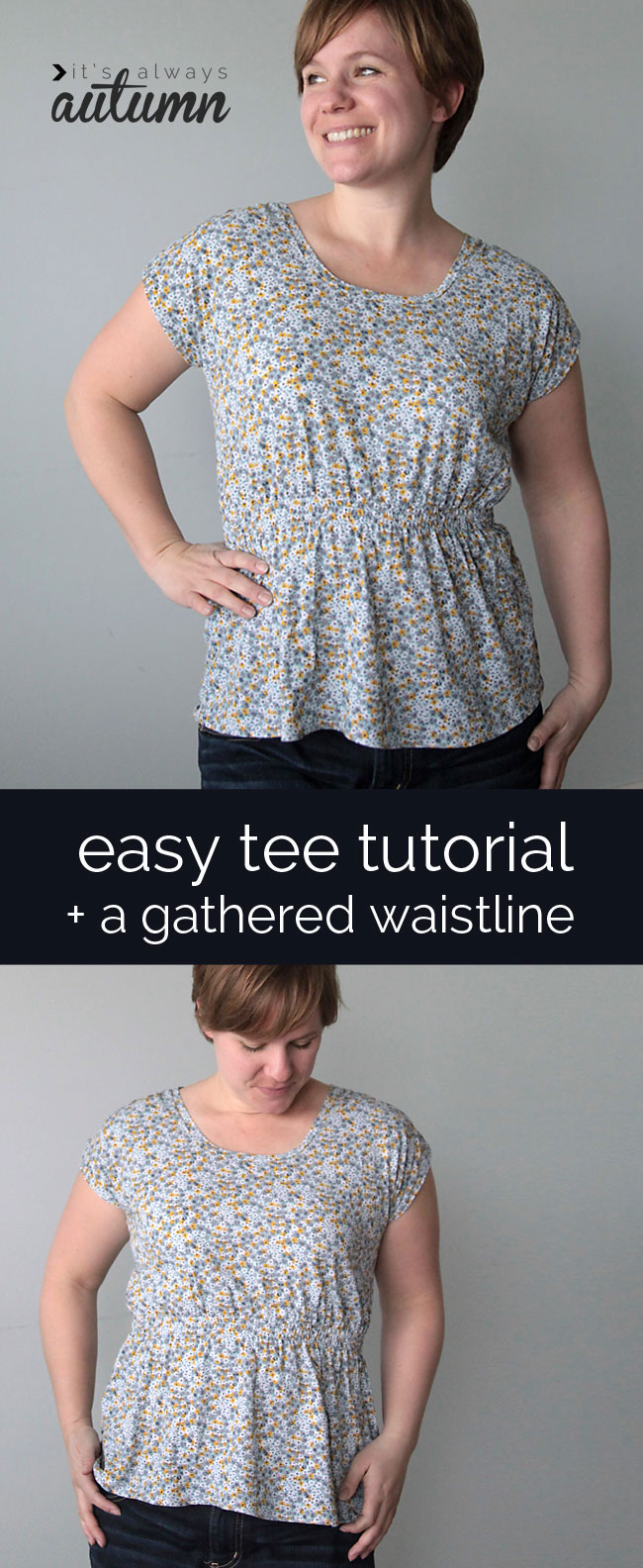 easy-tee-gathered-waist-sewing-directions-instructions-how-to-sew-womens-top