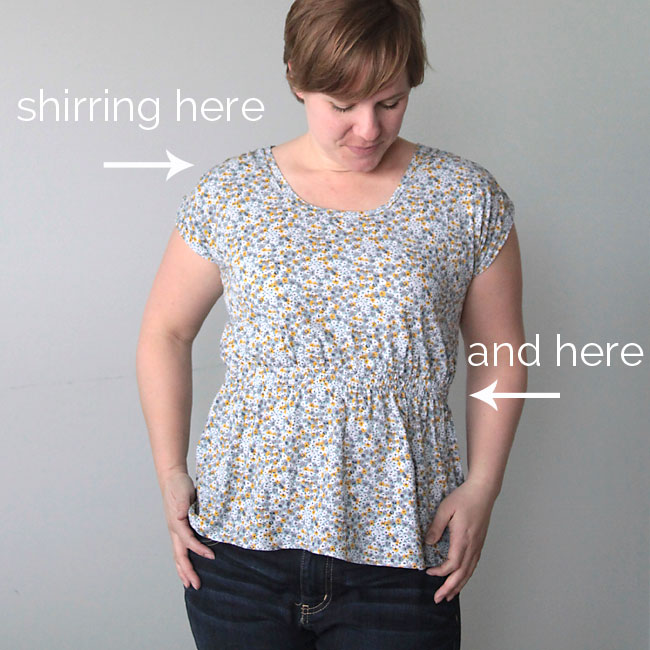 easy to sew women's t-shirt tutorial with gathered waist