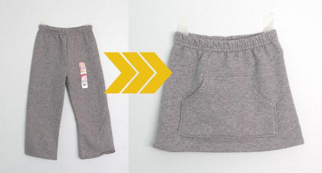 DIY sweat pants to skirt refashion sewing tutorial