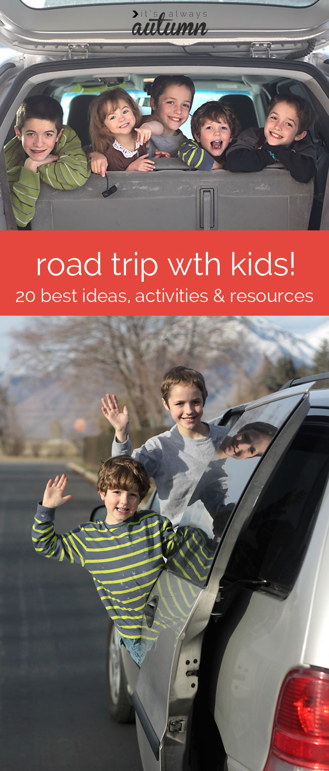 great road trip with kids post! 20 ideas for activities, food, organization, and more!
