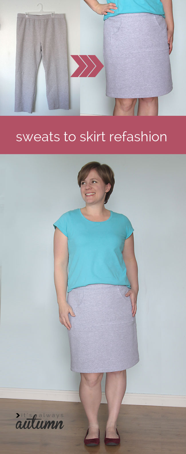 easy sewing tutorial! learn to refashion old sweats into a cute spring skirt.