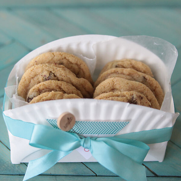 Cookies in a basket made from a paper plate