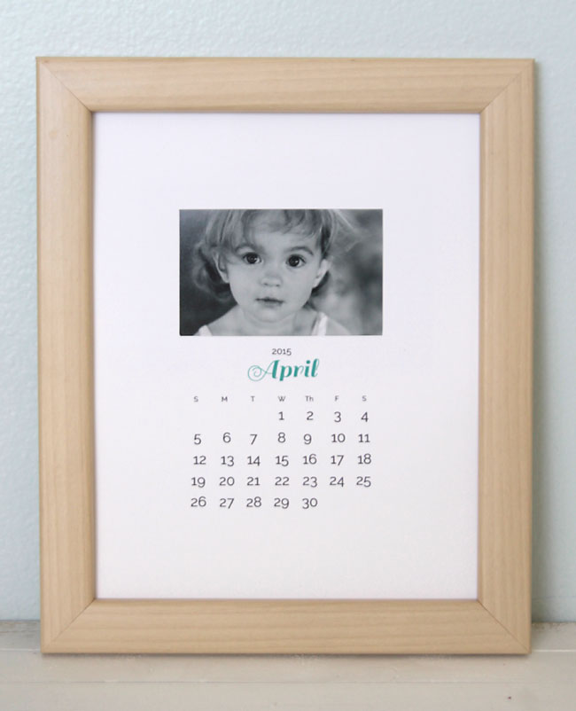 this is a great gift idea! use the free printables, and pictures, and you have a DIY photo calendar