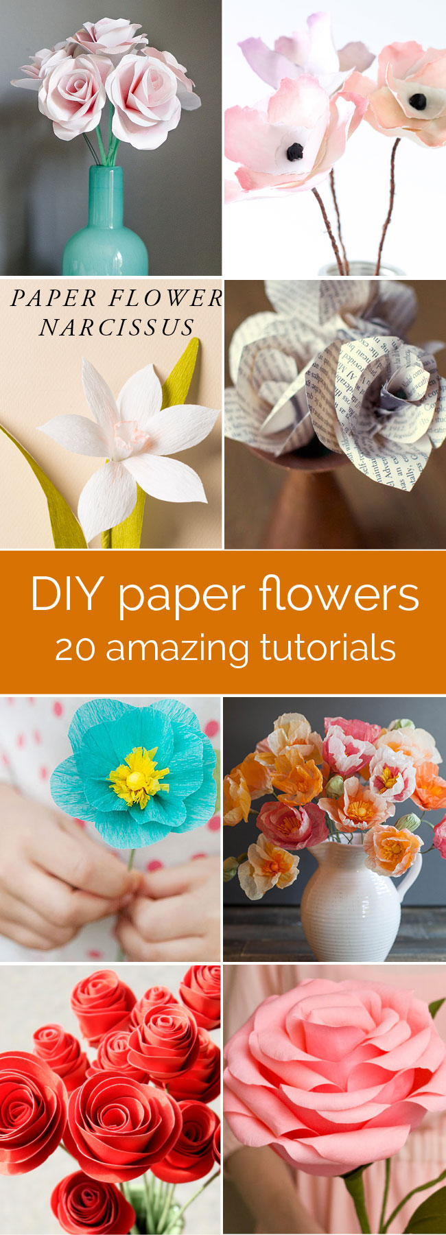 20 Diy Paper Flower Tutorials How To Make Paper Flowers