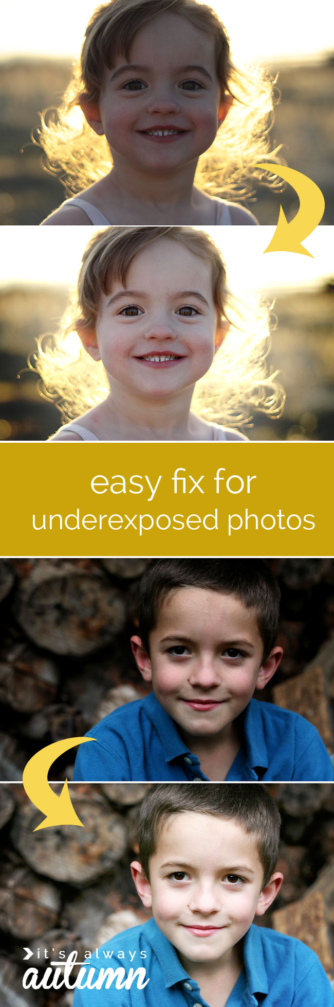 how to fix dark or underexposed photos - easy!