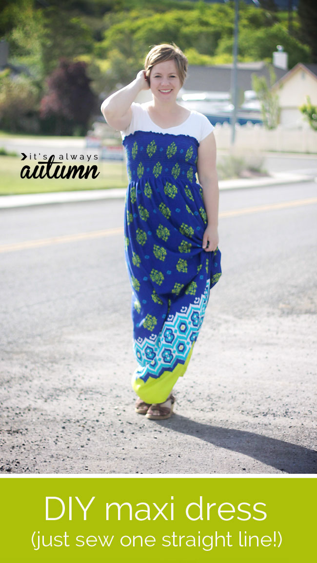 easy DIY maxi dress with just one seam!