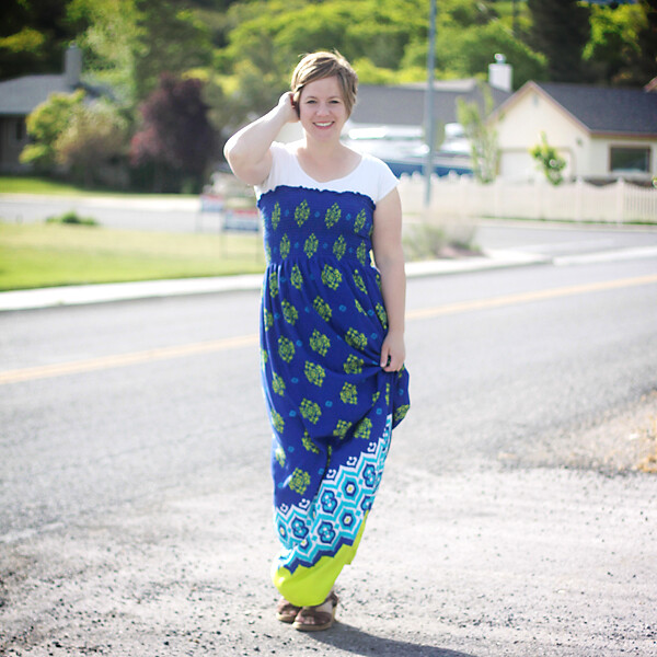 A woman wearing an easy to sew maxi dress