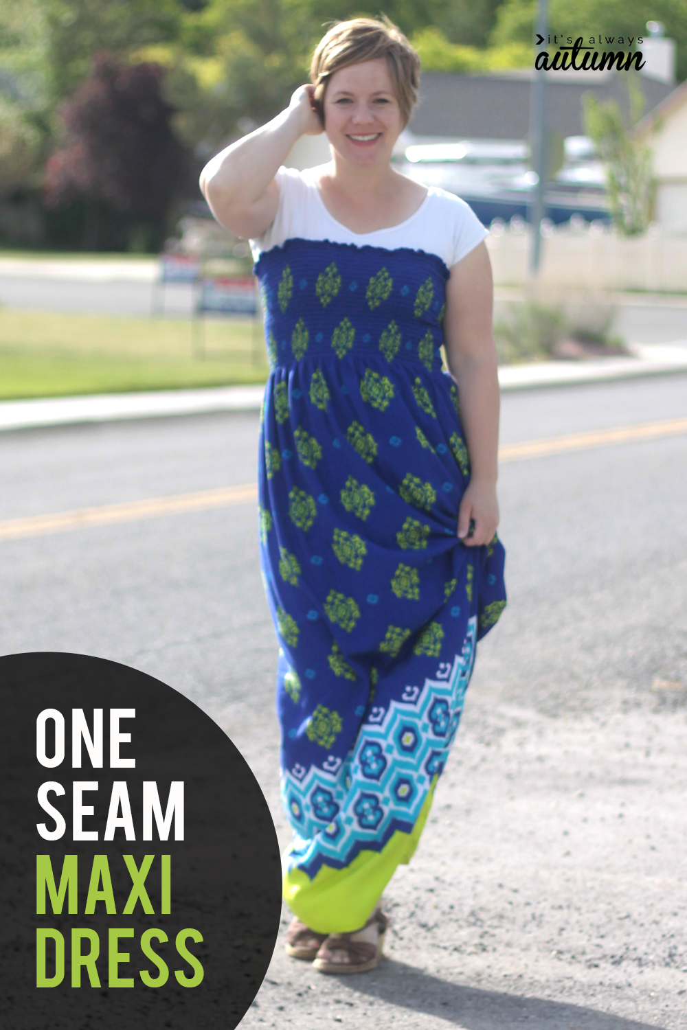 Make a maxi dress with just one seam! How to sew a super easy maxi using pre-smocked fabric.