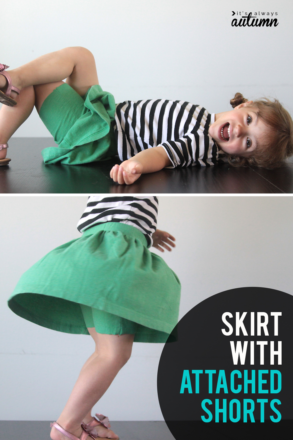 How to sew a skirt with attached shorts - perfect for active little girls!