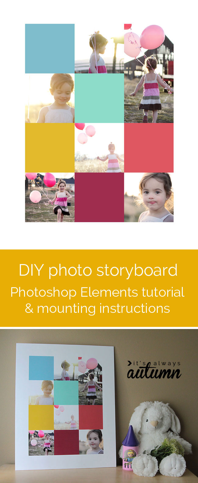 how to create a storyboard collage in Photoshop Elements and mount on foam core (cheap!)