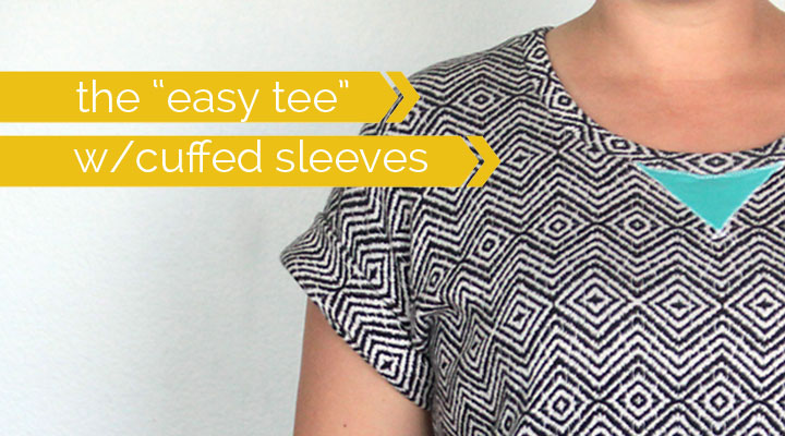learn how to make a simple women's tee with cuffed sleeves with this easy sewing tutorial