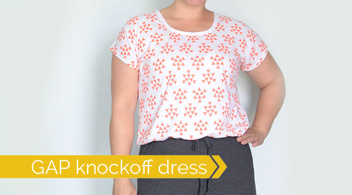 use a free tee pattern to make an easy GAP dress knockoff - sewing tutorial