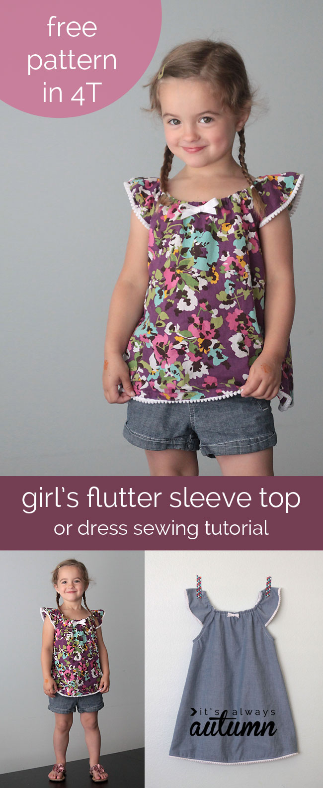 Girls flutter sleeve dress or top sewing tutorial free pattern flutter sleeve dress top how to sew girls jeuxipadfo Image collections