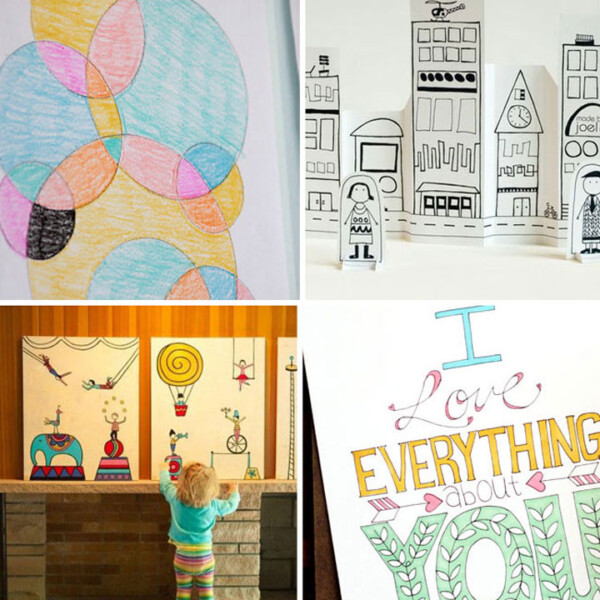collage of fun coloring pages and projects for kids