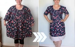 thrifted dress refashion | make a dress smaller & longer