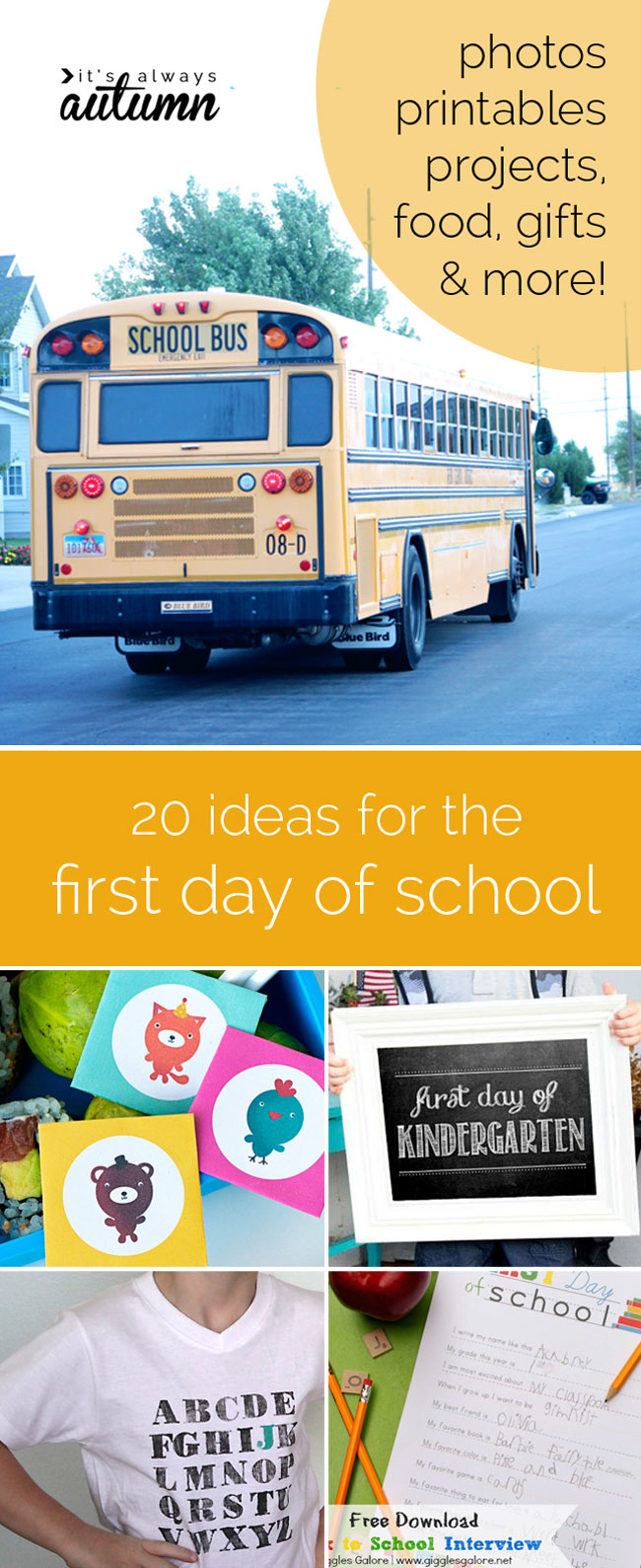 great ideas for the first day of school - outfits, photos, food, gifts, and more!