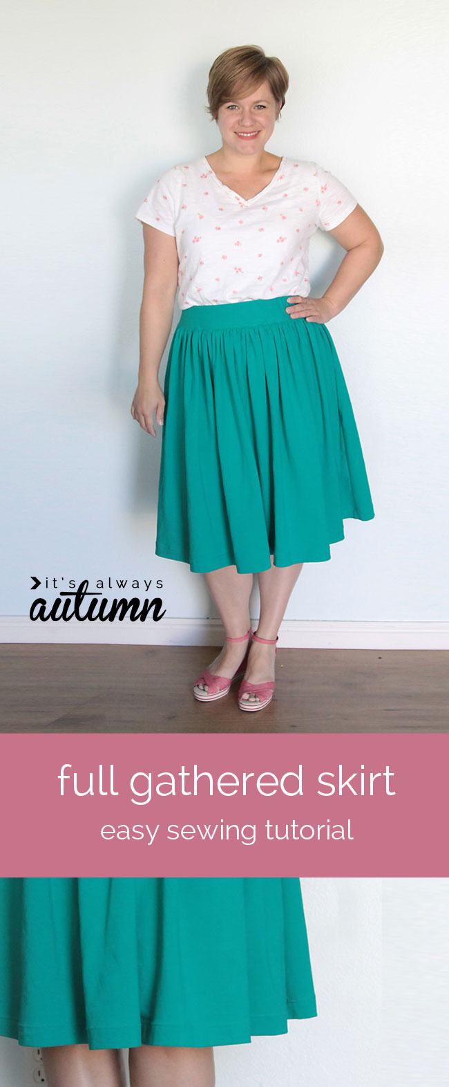 easy gathered skirt for sewing tutorial