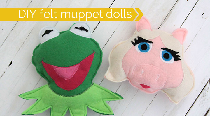 felt kermit and miss piggy dollss {muppets most wanted}